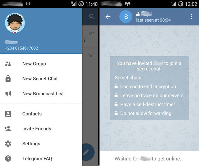 Telegram Secret Chats feature.