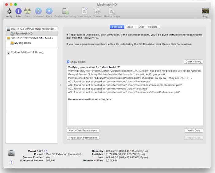 Verify and repair permissions with Disk Utility.