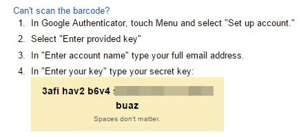Google will display the secret key.