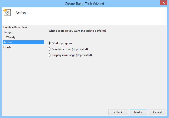 Select the radio button 'Start a program.'