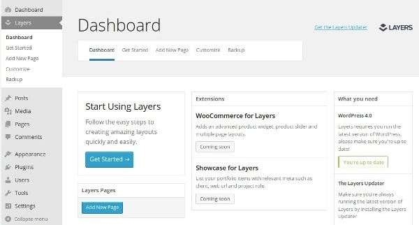 The Layers dashboard.