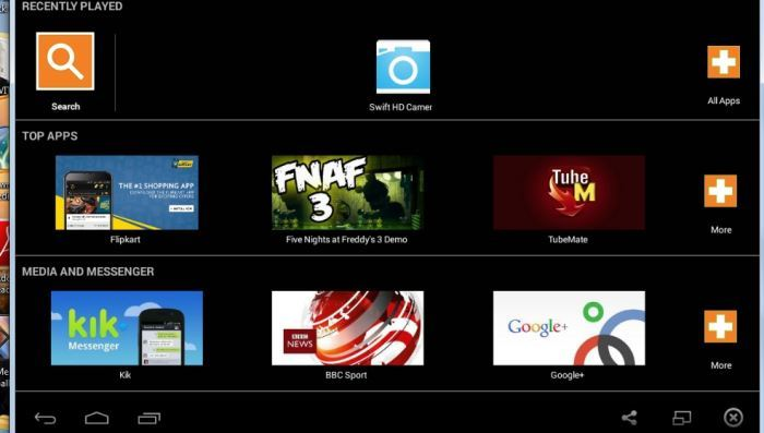 Bluestacks user interface.
