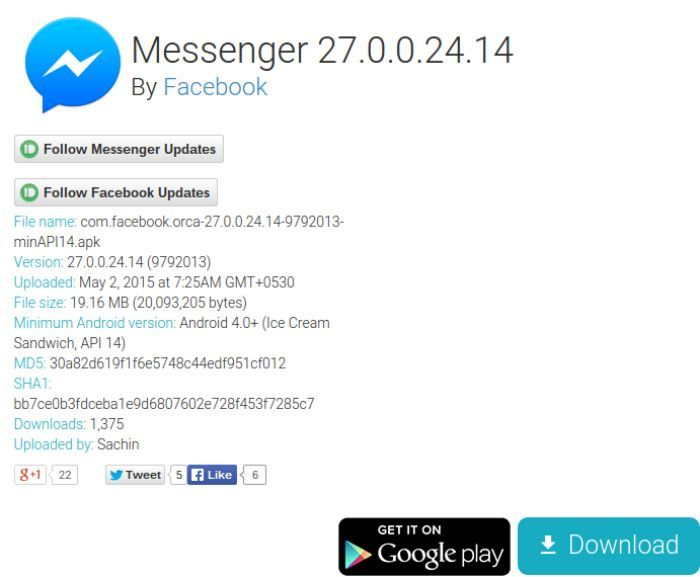 Messenger 27.0.0.24.14 APK Download via APKMirror