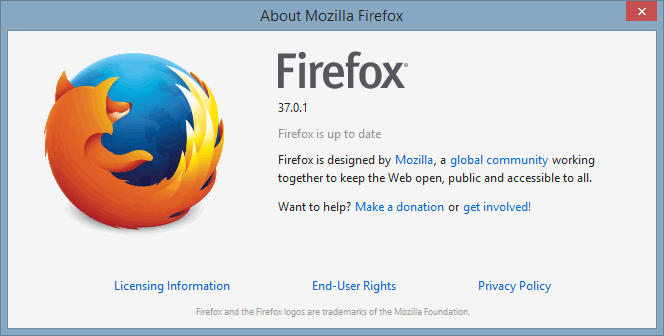 Firefox standard About info.