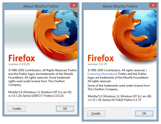 Firefox Legacy About info.