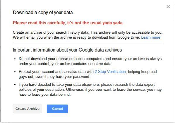 Download a copy of your Google Search history data.
