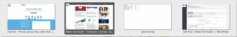 Tab preview via Ctrol+Tab in Firefox.