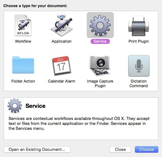 Open Automator and create a Service workflow.