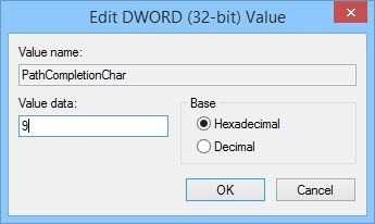 Enter the value data as '9' for TAB key.