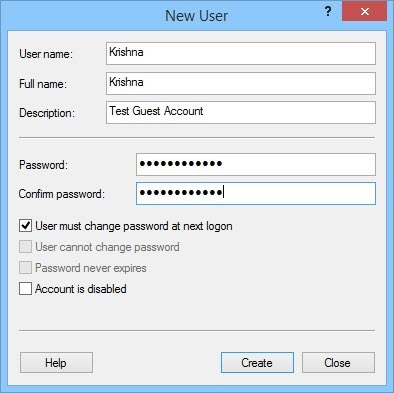 Create a new user account.