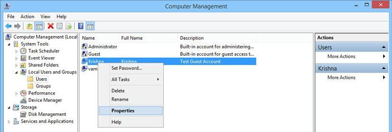 Manage the newly created or all the existing user accounts.