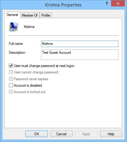 Modify the name, description, and the password settings.