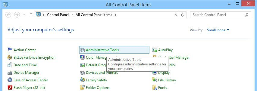 Find and click on the 'Administrative Tools' option.
