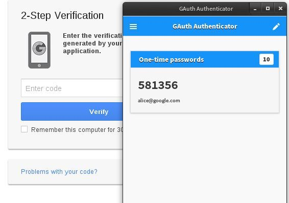 GAuth Authenticator app for Chrome.