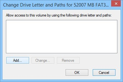 Click on the button 'Add' to add the drive letter.