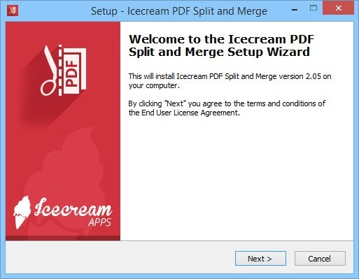 PDF Split and Merge installation screen.