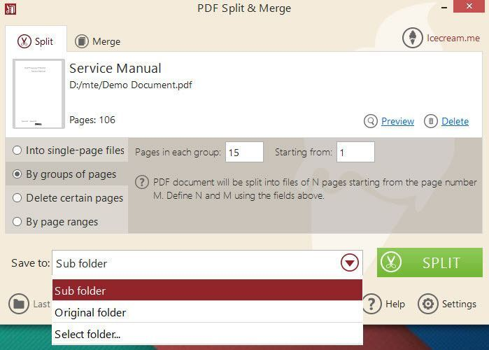 PDF Split and Mere split options.