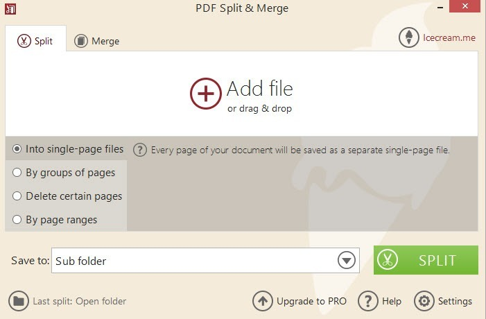 Add a file or drag and drop.