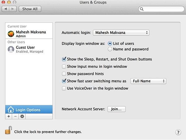 Select 'Show fast user switching menu as Full Name.'