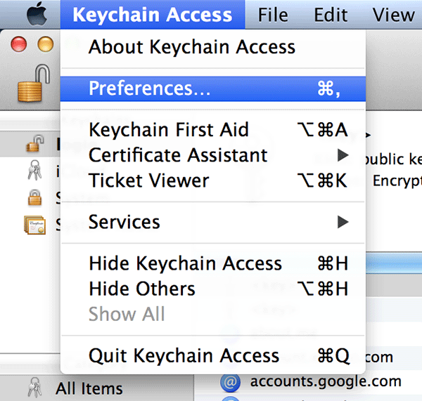 Click on 'Keychain Access' followed by 'Preferences....'