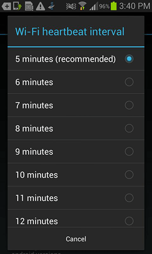 Set 5 minutes as the interval time for WiFi heartbeat.