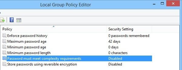 Double-click on the policy 'Password must meet complexity requirement.'