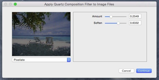 Apply Quartz Composition Filter to image files.