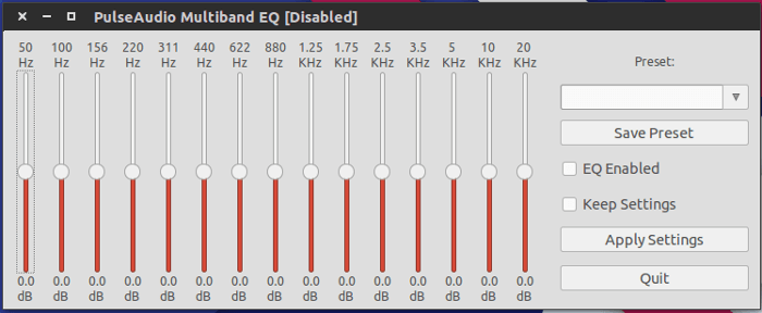 Pulse Audio Equalizer main configuration window.
