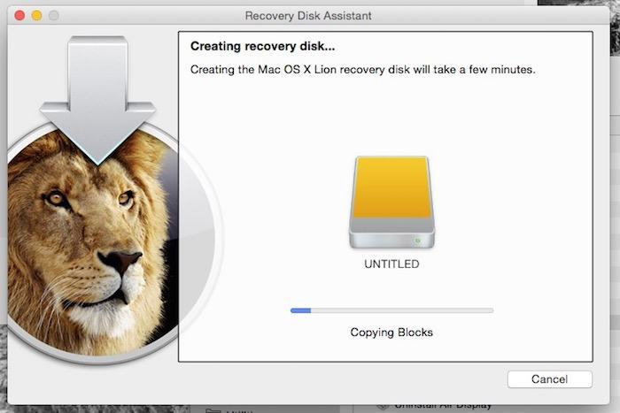 The Assistant will now create your external Recovery drive.