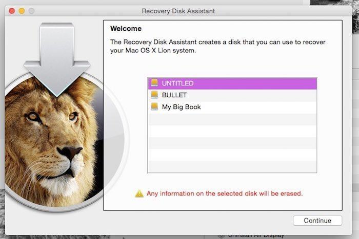 Choose the volume you want to store the Recovery Disk on.