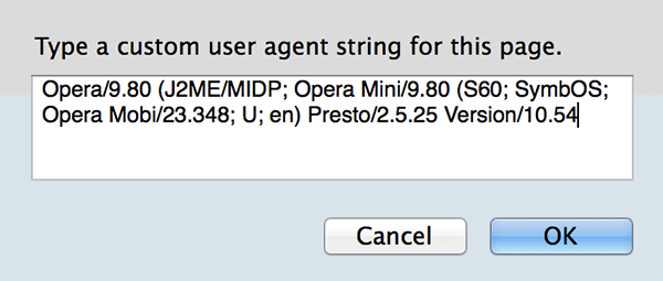 Type a custom user agent string.