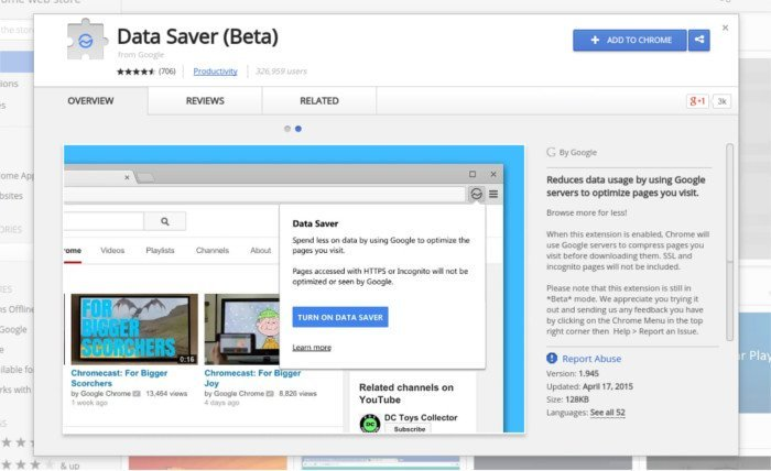 Download the Chrome Data Saver extension.