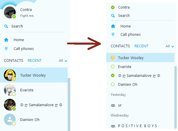 Fixing the contacts view in Skype: from that to this.