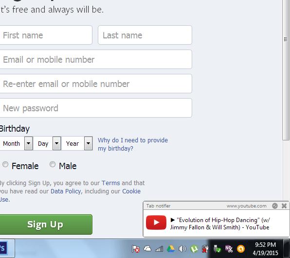 Tab Notifier pop-up notification.