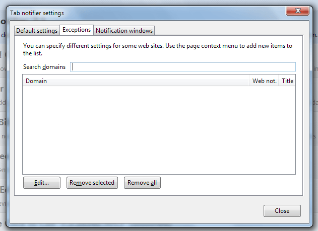 You can specify different settings for some websites.