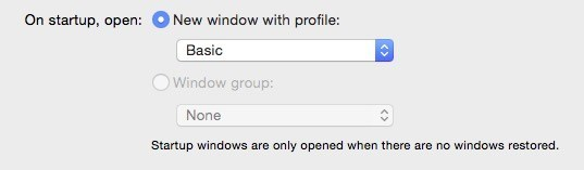 Select your new look from the 'On startup open new window with profile' dropdown.
