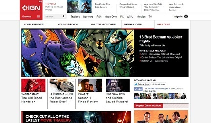 IGN website after using uBlock.
