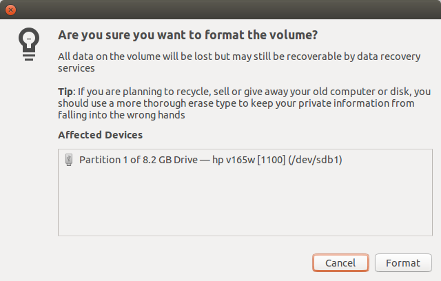 Confirm you want to format the volume.