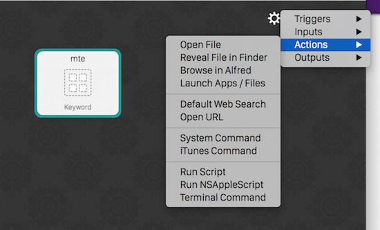 Alfred-workflow-actions