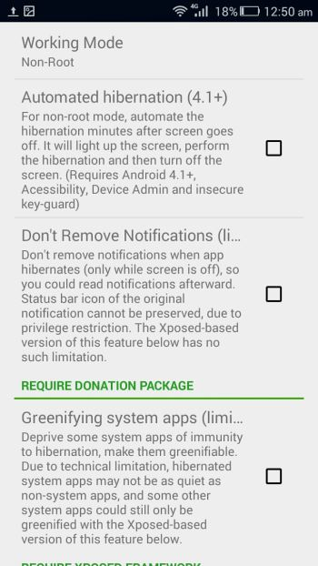 Greenify for Android working mode