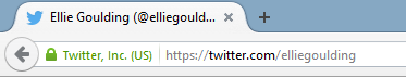 Twitter profile link in address bar.