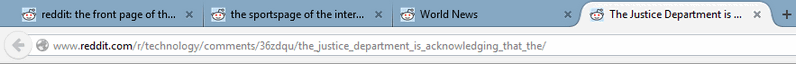 After clicking a tab group, this is how the Firefox tab bar appears.