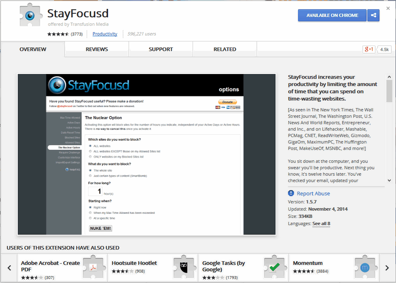 StayFocused extension for Chrome.