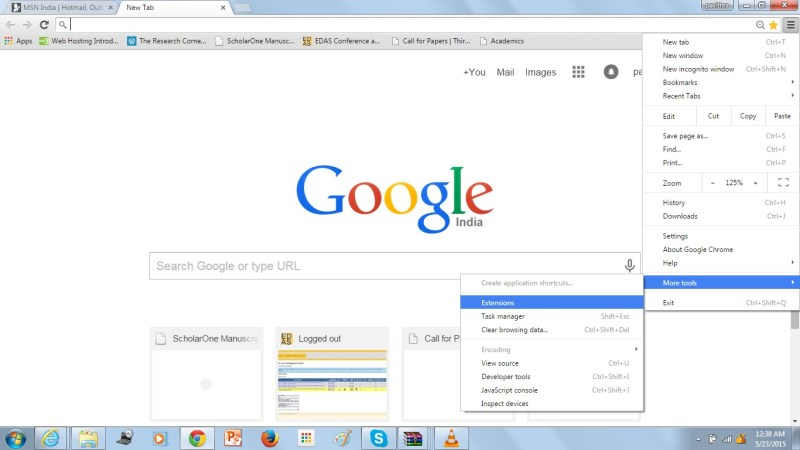 Go to Extensions in Chrome browser.
