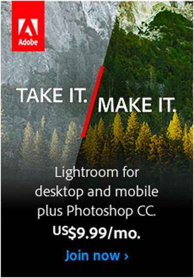 Get access to Photoshop CC and Lightroom CC for $9.99/month.