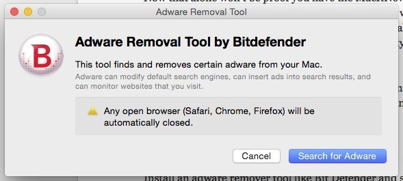 Adware removal tool by Bitdefender.