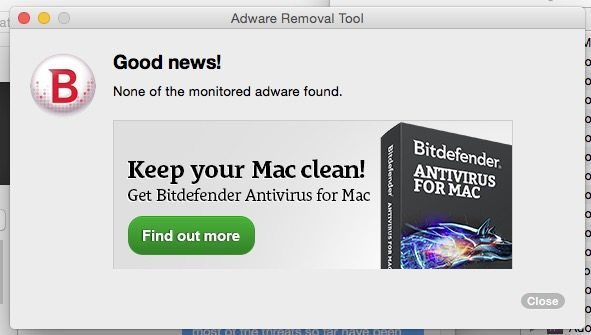 Adware scanner results.