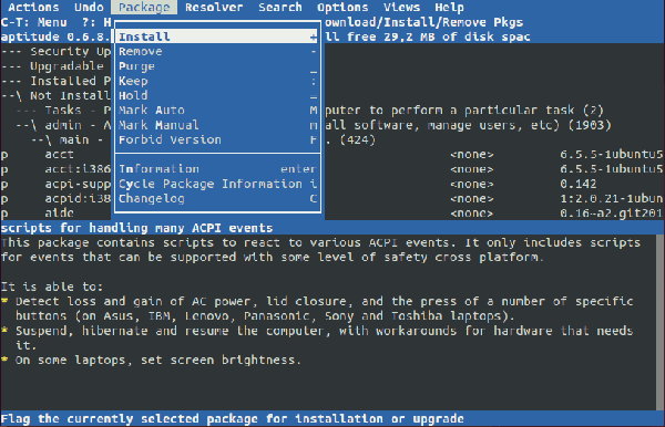 Aptitude terminal application
