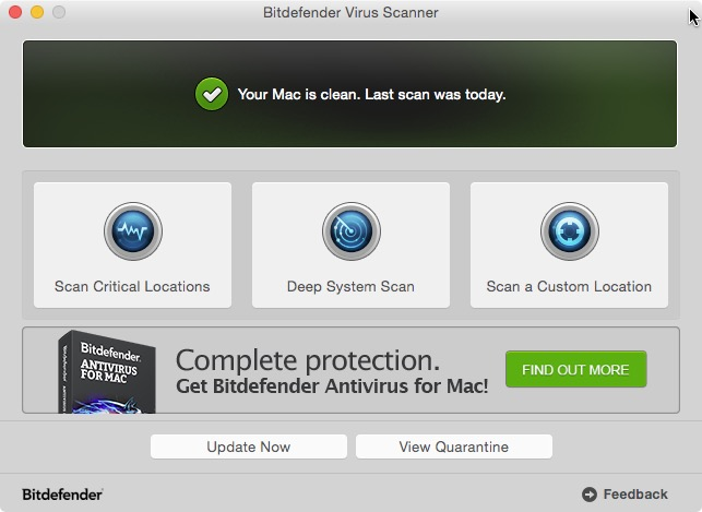 Bitdefender Virus Scanner for Mac.