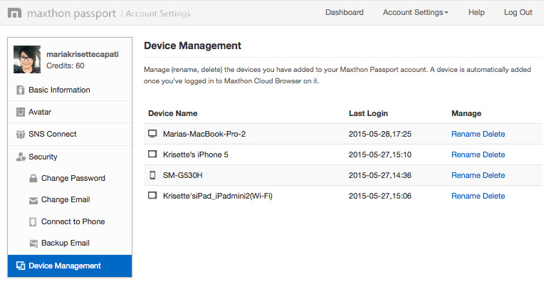 Device Management view.